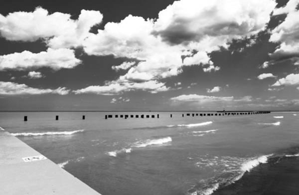 Photograph - Big Lake Clouds Black White by Patrick Malon