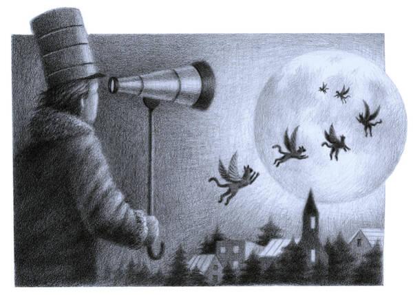 Seer Wall Art - Drawing - Big Moon by Steve Dininno