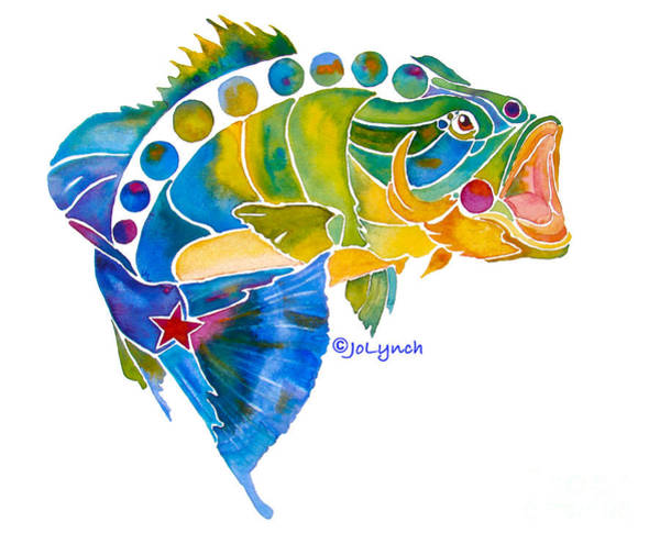 Painting - Big Mouth Bass Whimsical by Jo Lynch