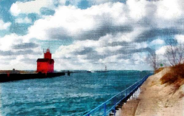 Holland State Park Photograph - Big Red Big Wind 3.0 by Michelle Calkins