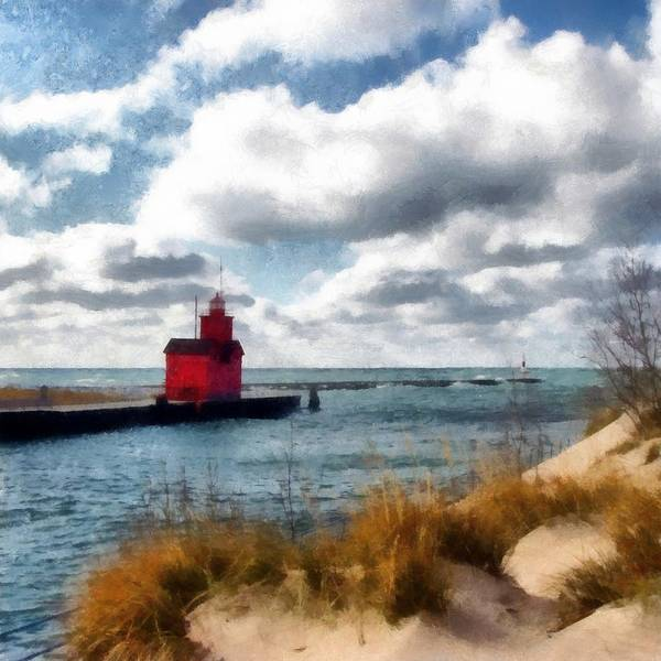 Holland State Park Photograph - Big Red Big Wind by Michelle Calkins