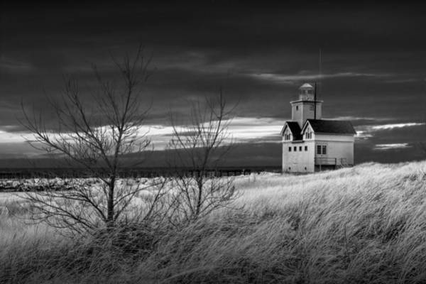 Holland State Park Photograph - Big Red Lighthouse At Sunset In Black And White by Randall Nyhof