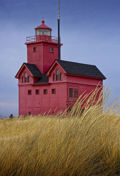 Holland State Park Photograph - Big Red Lighthouse No 0153 by Randall Nyhof