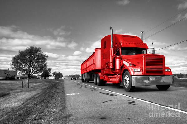 Peterbilt Photograph - Big Red Rig  by Rob Hawkins