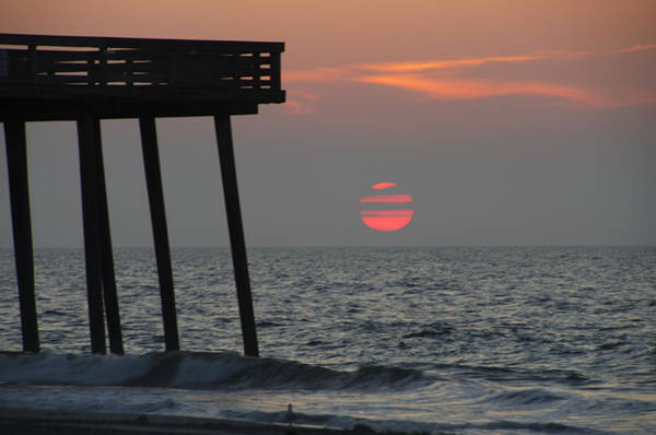 Big Red Photograph - Big Red Sun At The 14th Street Pier by Bill Cannon