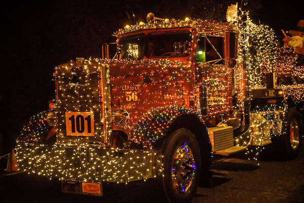 Wall Art - Photograph - Big Rig With Christmas Lights by Garry Gay