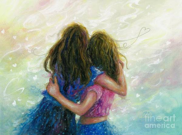 Two Friends Wall Art - Painting - Big Sister Hug by Vickie Wade