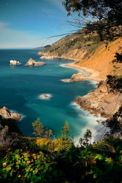 Photograph - Big Sur In Moonlight by Songquan Deng