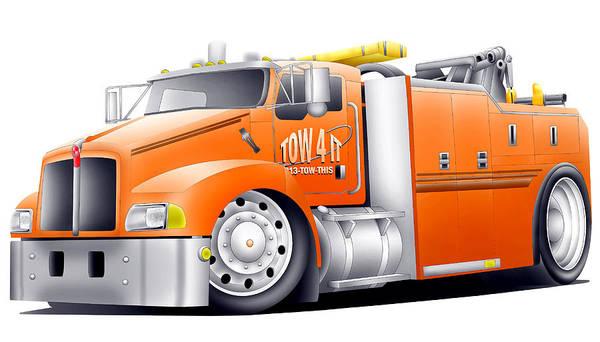 Semi-truck Digital Art - Big Tow by Lyle Brown