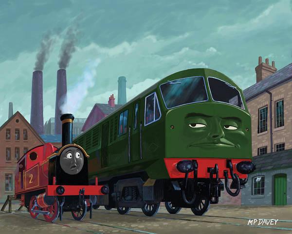 Diesel Trains Painting - Big Train Little Train by Martin Davey