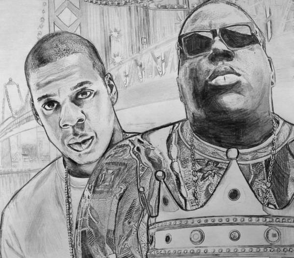 Wall Art - Drawing - Biggie And Jayz by Mary McCusker