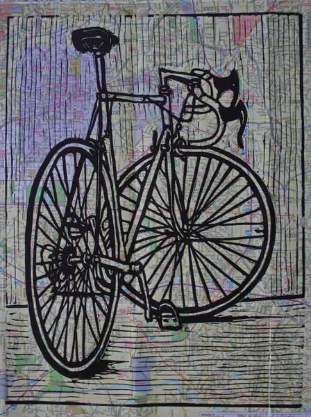 Bike 4 On Map Art Print
