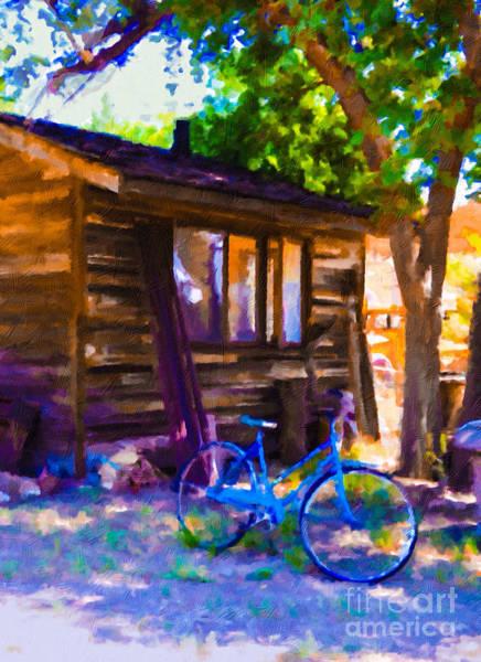 Painting - Bike At Hillside Cabin by Teri Brown