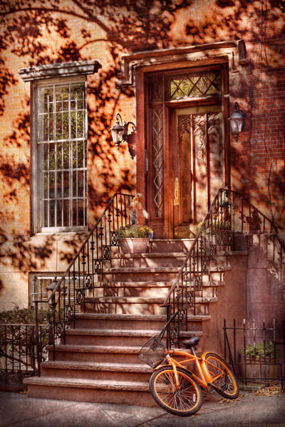 Photograph - Bike - Ny - Greenwich Village - An Orange Bike  by Mike Savad