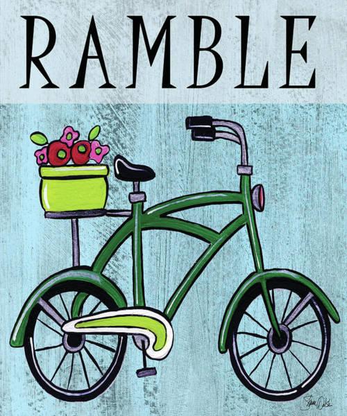 Flowers Bike Wall Art - Painting - Bike-ramble Print by Shanni Welsh