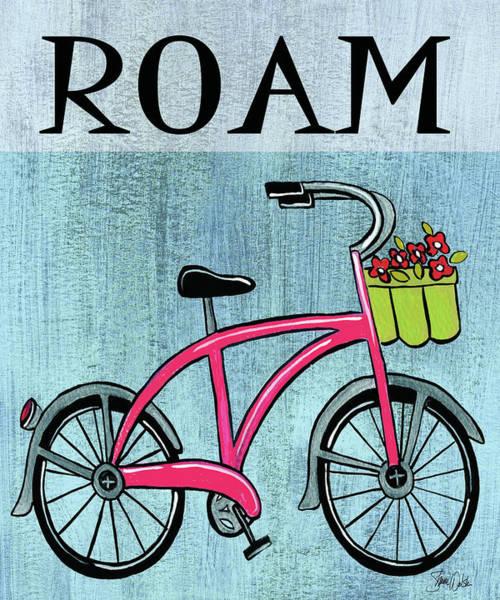 Flowers Bike Wall Art - Painting - Bike-roam Print by Shanni Welsh