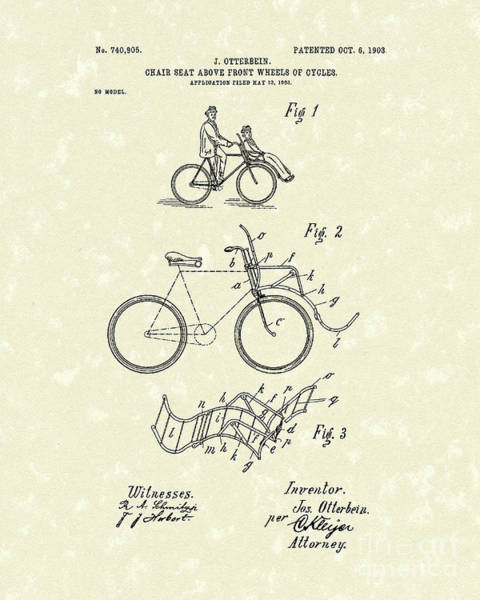 Drawing - Bike Seat 1903 Patent Art by Prior Art Design
