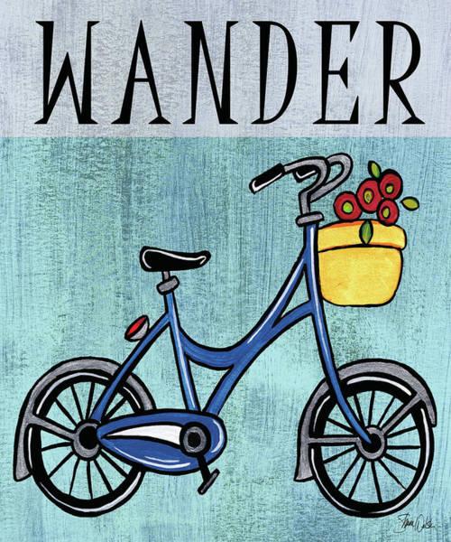 Flowers Bike Wall Art - Painting - Bike-wander Print by Shanni Welsh