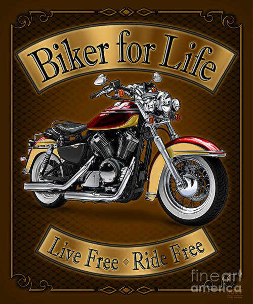 Painting - Biker For Life by JQ Licensing