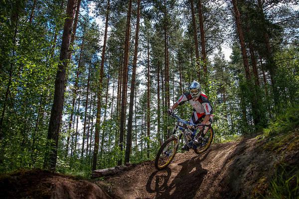 Biker On Trail Art Print