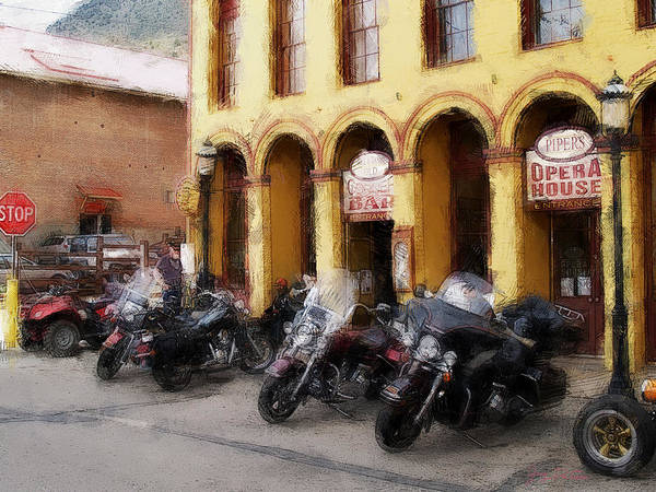 Bikers Outside Corner Bar Art Print