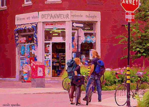 Painting - Bikes Backpacks And Cold Beer At The Local Corner Depanneur Montreal Summer City Scene  by Carole Spandau