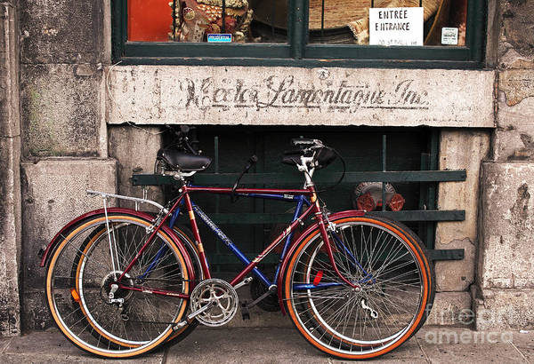 Old Montreal Photograph - Bikes In Old Montreal by John Rizzuto