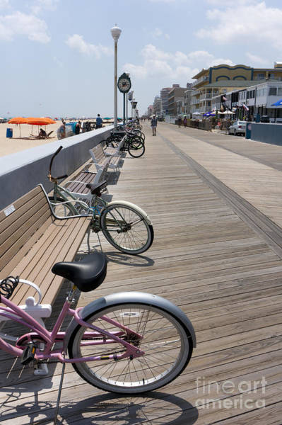 Photograph - Bikes Parked On The Boardwalk In Ocean City Maryland. by William Kuta