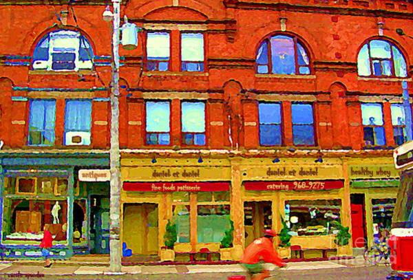 Painting - Biking By Daniel Et Daniel Caterers French Resto Carlton St Cabbagetown Toronto City Scenes Cspandau by Carole Spandau