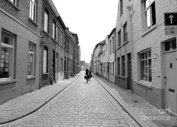 In Bruges Photograph - Biking In Bruges - Black And White by Carol Groenen