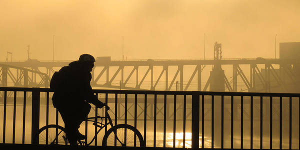 Biking The Bridges Art Print
