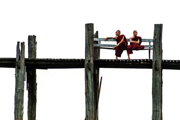 Myanmar Wall Art - Photograph - 'bilateral' Monks by Philip Sutton