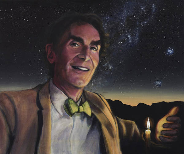 Skeptic Wall Art - Painting - Bill Nye - A Candle In The Dark by Simon Kregar