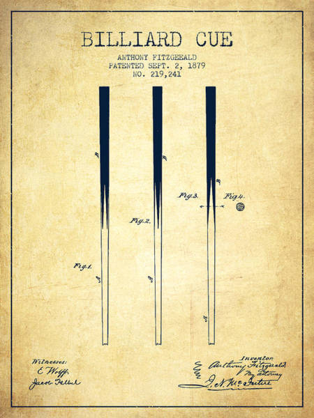 Wall Art - Digital Art - Billiard Cue Patent From 1879 - Vintage by Aged Pixel
