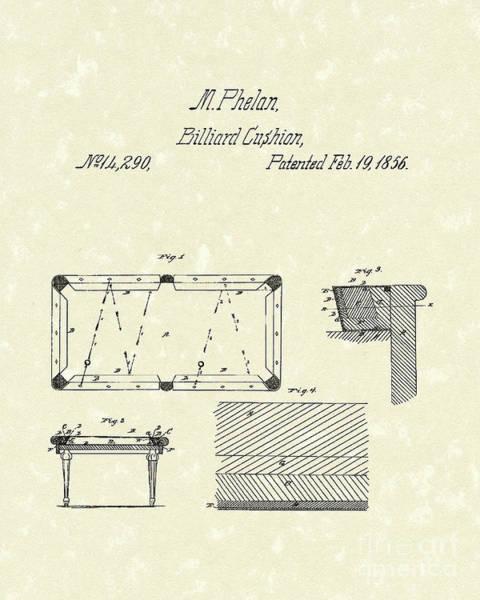Drawing - Billiard Cushion 1856 Patent Art by Prior Art Design