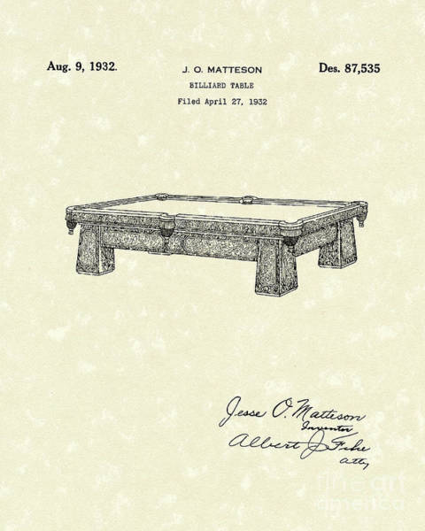 1932 Wall Art - Drawing - Billiard Table 1932 Patent Art by Prior Art Design