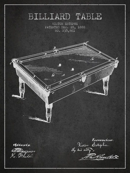 Pool Digital Art - Billiard Table Patent From 1880 - Charcoal by Aged Pixel