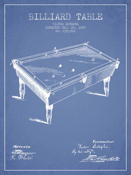 Pool Digital Art - Billiard Table Patent From 1880 - Light Blue by Aged Pixel
