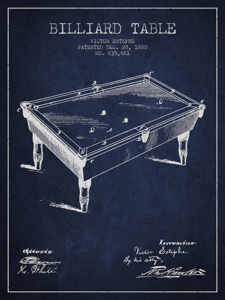 Pool Digital Art - Billiard Table Patent From 1880 - Navy Blue by Aged Pixel