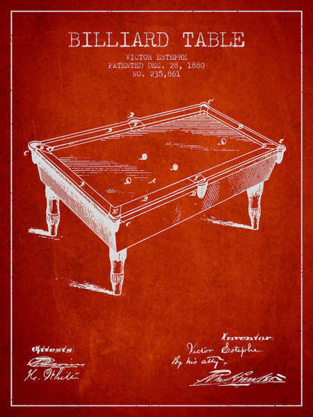 Pool Digital Art - Billiard Table Patent From 1880 - Red by Aged Pixel