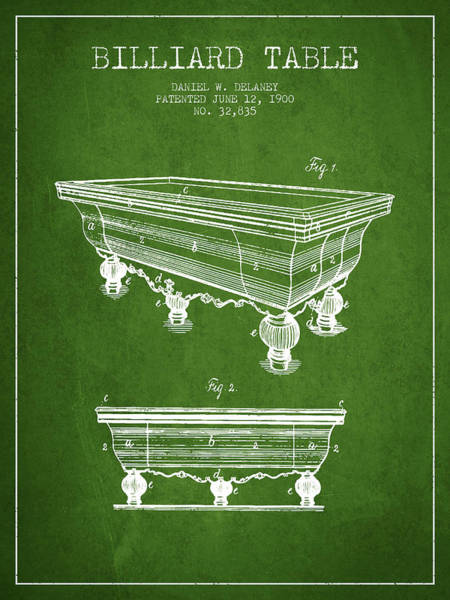 Pool Digital Art - Billiard Table Patent From 1900 - Green by Aged Pixel