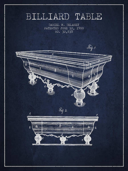 Pool Digital Art - Billiard Table Patent From 1900 - Navy Blue by Aged Pixel