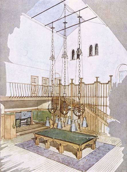 Interior Drawing - Billiards Room, Designed By George by .
