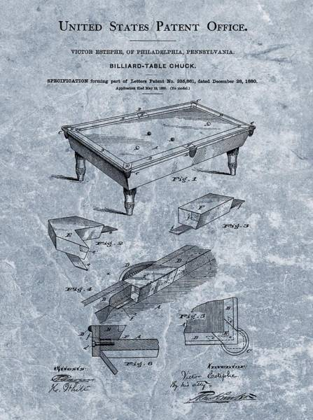 Pool Mixed Media - Billiards Table Patent Blue by Dan Sproul