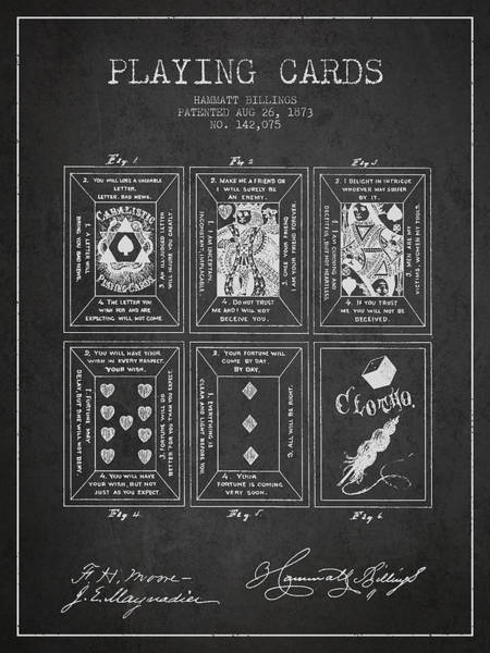 Playing Digital Art - Billings Playing Cards Patent Drawing From 1873 - Dark by Aged Pixel