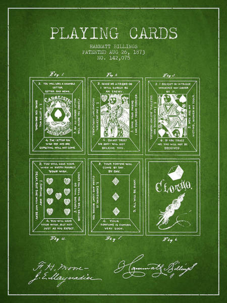Playing Digital Art - Billings Playing Cards Patent Drawing From 1873 - Green by Aged Pixel
