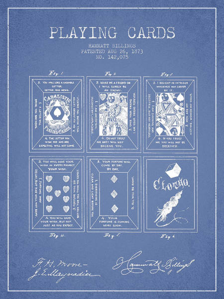 Playing Digital Art - Billings Playing Cards Patent Drawing From 1873 - Light Blue by Aged Pixel