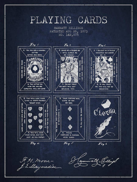 Playing Digital Art - Billings Playing Cards Patent Drawing From 1873 - Navy Blue by Aged Pixel