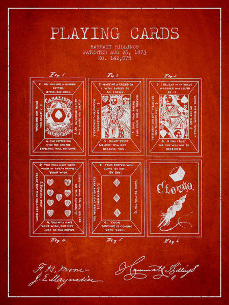 Playing Digital Art - Billings Playing Cards Patent Drawing From 1873 - Red by Aged Pixel