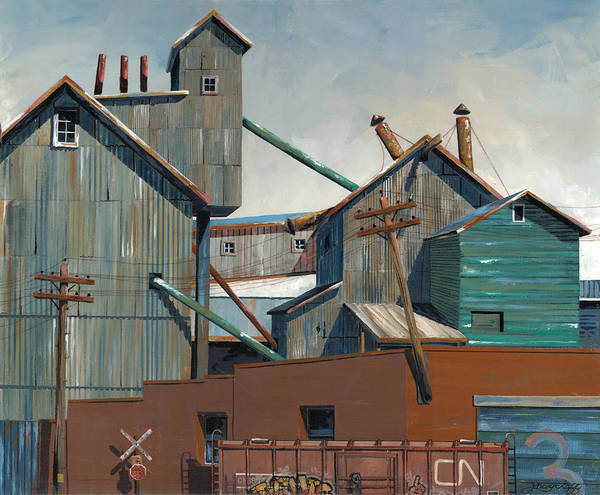 Trains Painting - Billings Warehouse by John Wyckoff